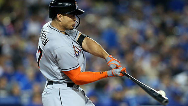 Giancarlo Stanton Crushes a Homer Out of the Park, Literally