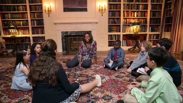 First Lady Michelle Obama Talks with Kid Reporters at Annual Easter Egg Roll