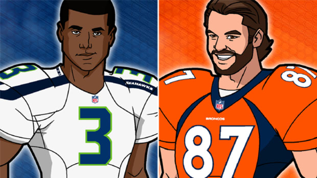 Russell Wilson and Eric Decker Get Animated