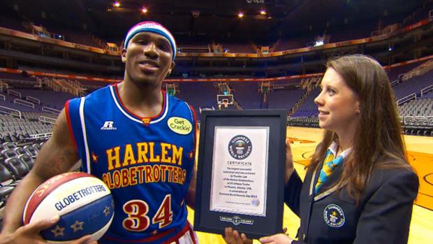 Harlem Globetrotter Sets Guinness World Record for Longest Shot