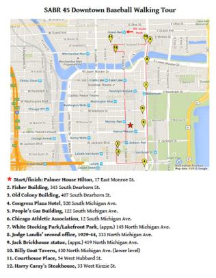 SABR 45 Walking Tour of Chicago Baseball History - 13 - Map of the Walking Tour