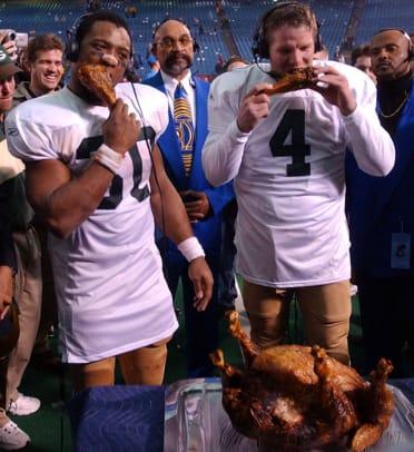 Athletes and Their Turkeys - 1 - Ahman Green and Brett Favre