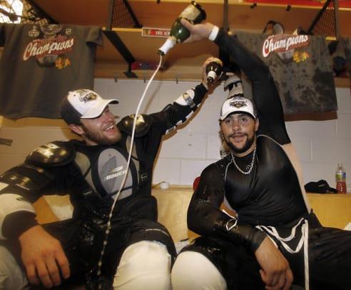 Locker Room Celebrations - 1 - Dustin Byfuglien and Jordan Hendry