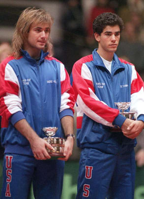 Iconic Photos of Andre Agassi - 2 -  Andre Agassi and Pete Sampras
