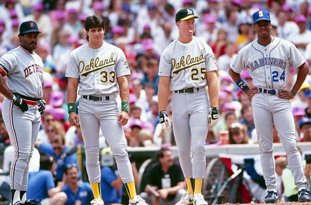 Scenes from the 1990 MLB All-Star Game - 1 - Cecil Fielder, Jose Canseco, Mark McGuire and Ken Griffey Jr.