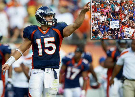 Tebow Time - 1 - Week 7 at Miami: 18-15 (OT) win