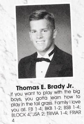 Athletes In Their High School Yearbook - 1 - Tom Brady, Class of '95