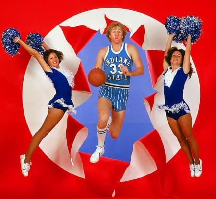 Rare Photos of Larry Bird  - 1 - Larry Bird and Indiana State cheerleaders