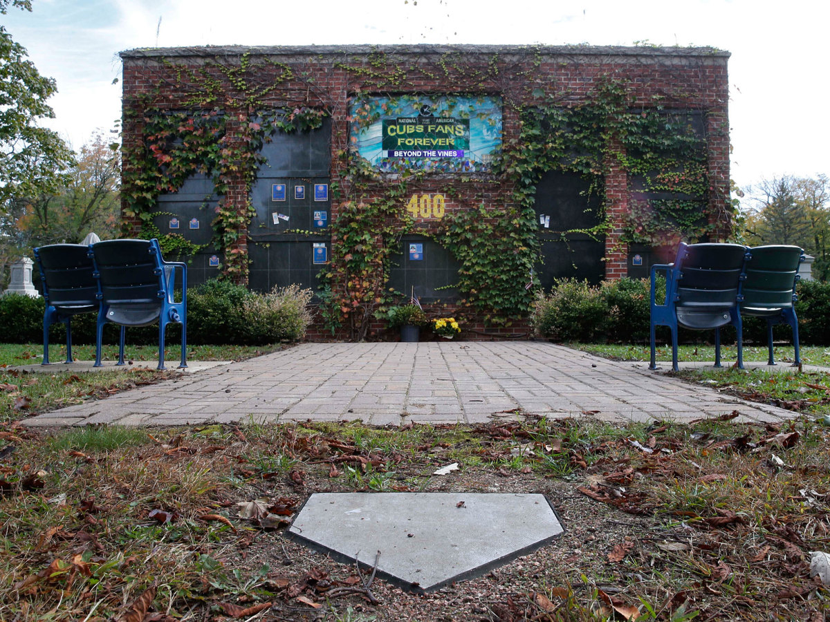 A replica Wrigley is the final resting place for nine Cubs fans at the Bohemian Cemetery in Chicago.