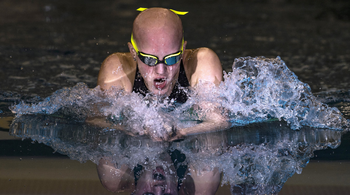 Leah tackles all four strokes in the individual medley, a test of a swimmer's all-around skill.