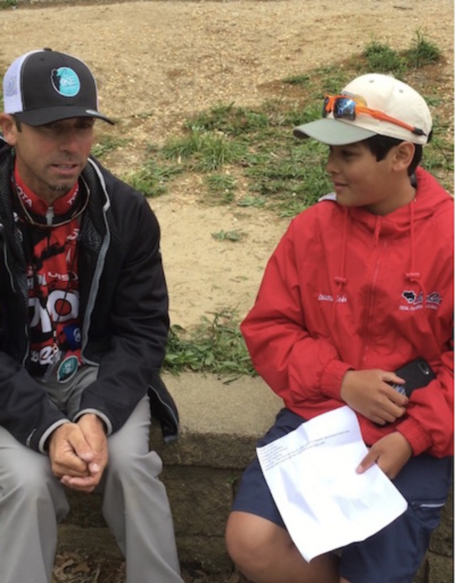 Mike Iaconelli and Kid Reporter Christopher John