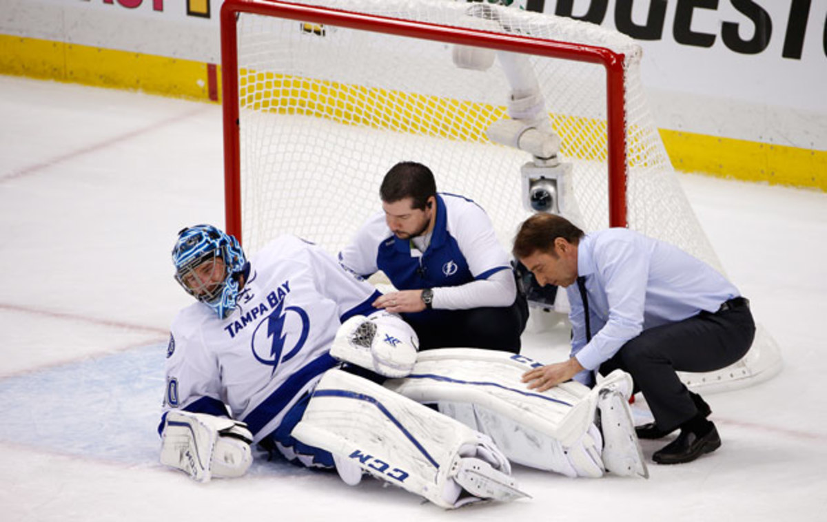 Ben Bishop had to be stretchered off during Game 1 of the ECF.