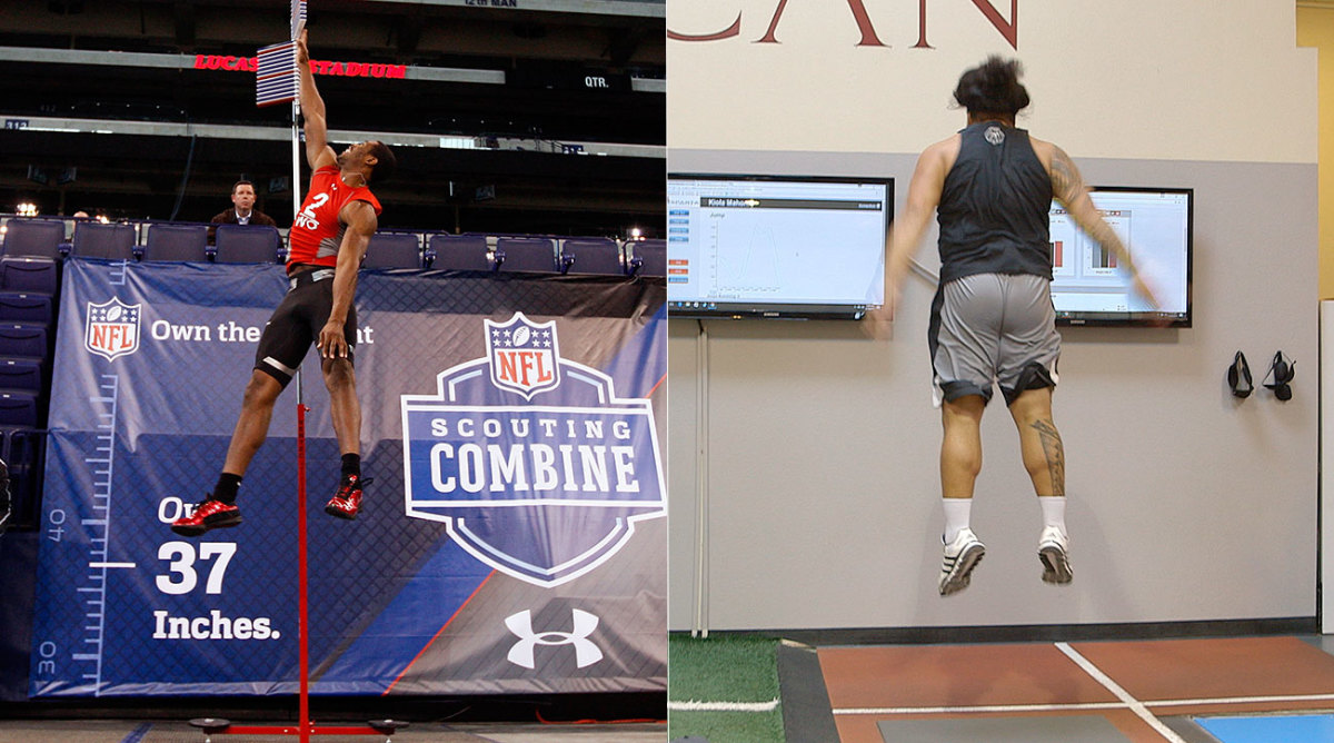 The vertical jump measuring stick, used here by Kenny Britt in 2009, may soon give way to force plates that measure how high a player can jump before he has even touched down.