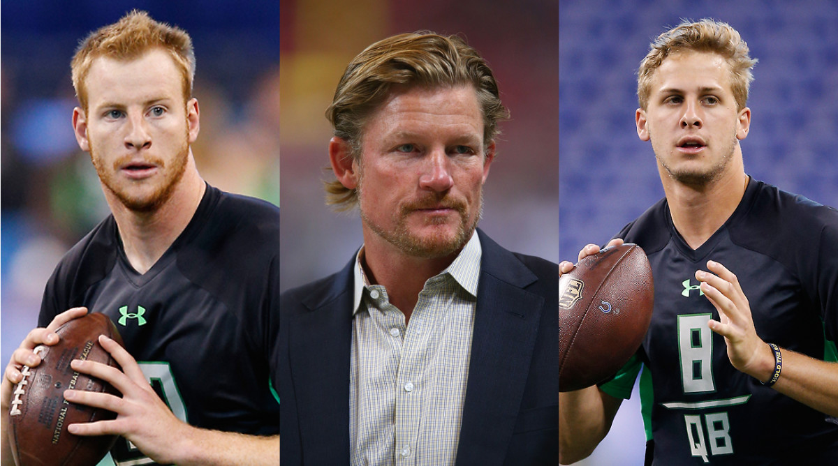 Rams GM Snead (center) gave up plenty but now can choose between Wentz (left) and Goff (right) for L.A.'s new quarterback.