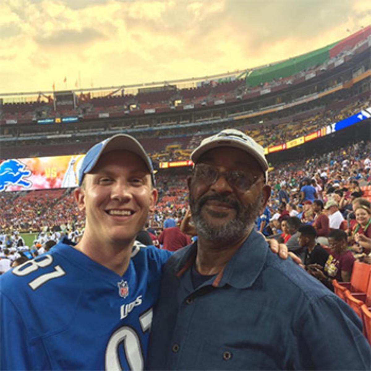 The writer and Calvin Johnson Sr. at Detroit's 2015 preseason game at Washington.