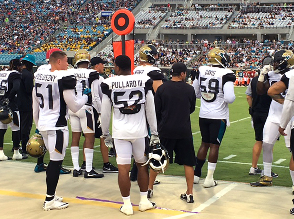 Pullard and Posluszny talk football during a Jaguars practice at EverBank Field.