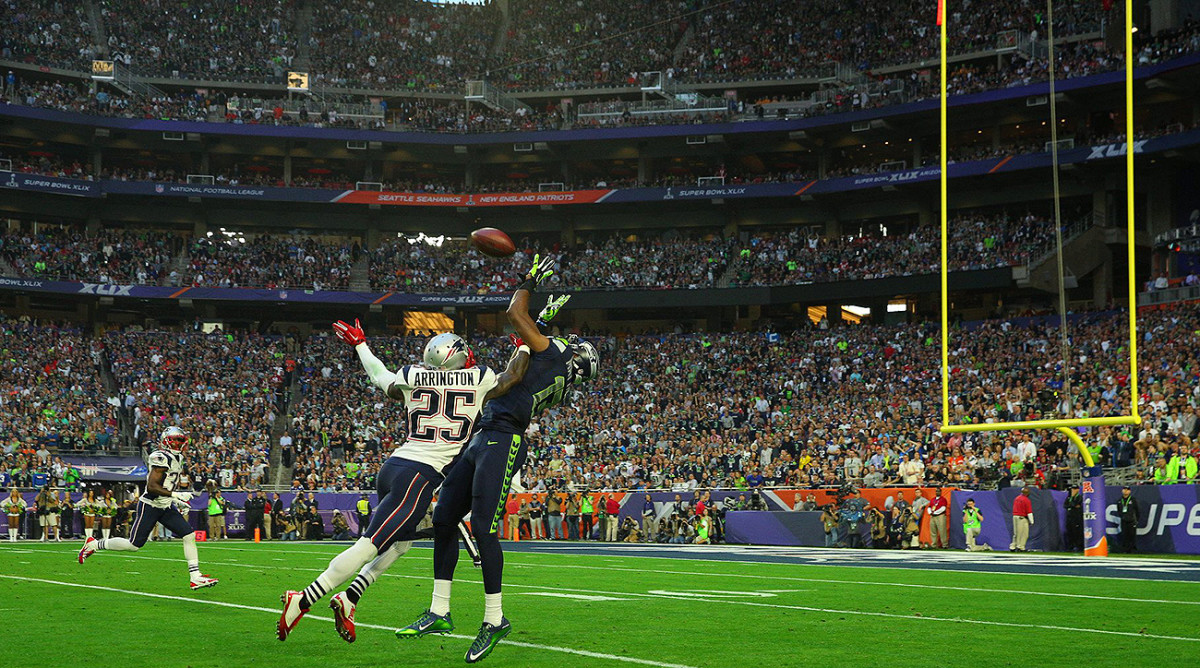 Matthews picked quite the moment for his first NFL catch, setting up the Seahawks' opening score in Super Bowl XLIX.