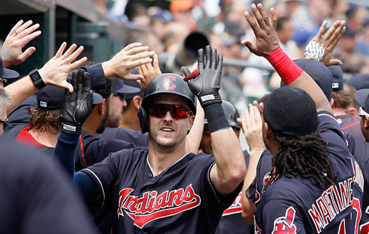 Lonnie Chisenhall hit the last of Cleveland's four fifth-inning home runs Sunday against Detroit.