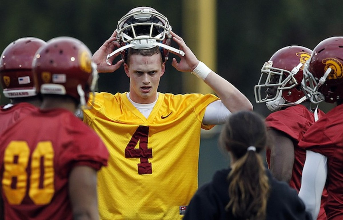 Browne, who arrived on campus in the spring of 2013 (above), is trying to win the starting job for the Trojans.