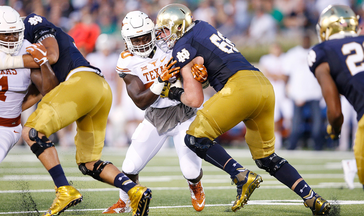 Rising prospect Mike McGlinchey will be playing his first game at left tackle when the Irish and Longhorns meet again Sunday.