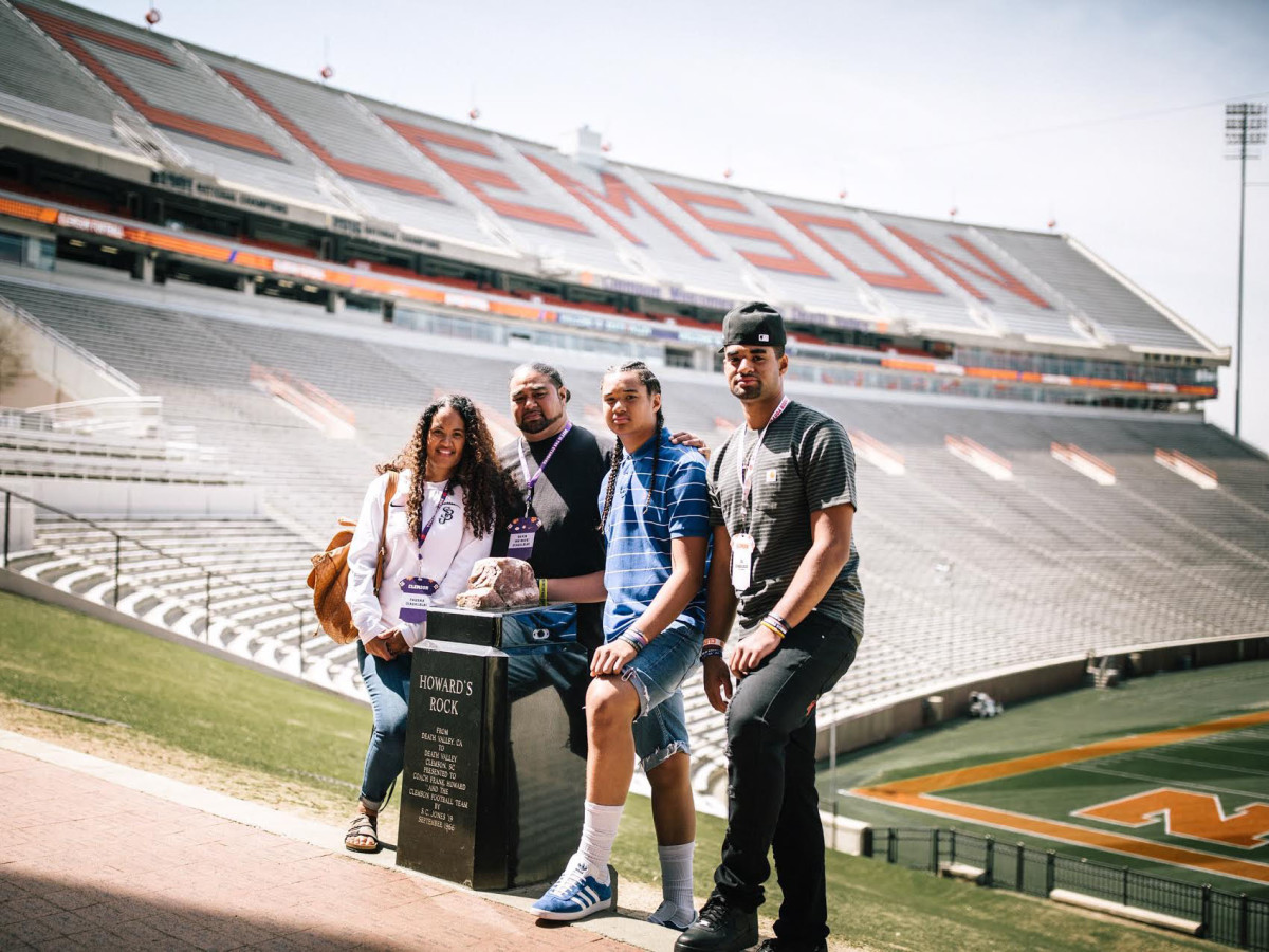 DJ Uiagalelei, the top-ranked quarterback in the 2020 class, visited Clemson last month with his family. From left to right, his mother Tausha, father Dave and brother Matayo.