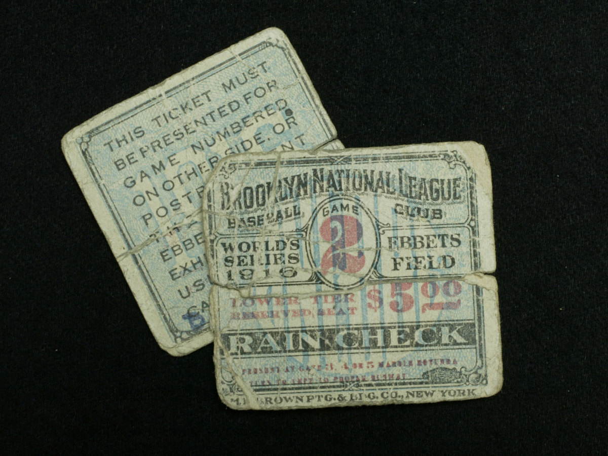 A ticket from the 1916 World Series between the Brooklyn Robins and the Boston Red Sox.