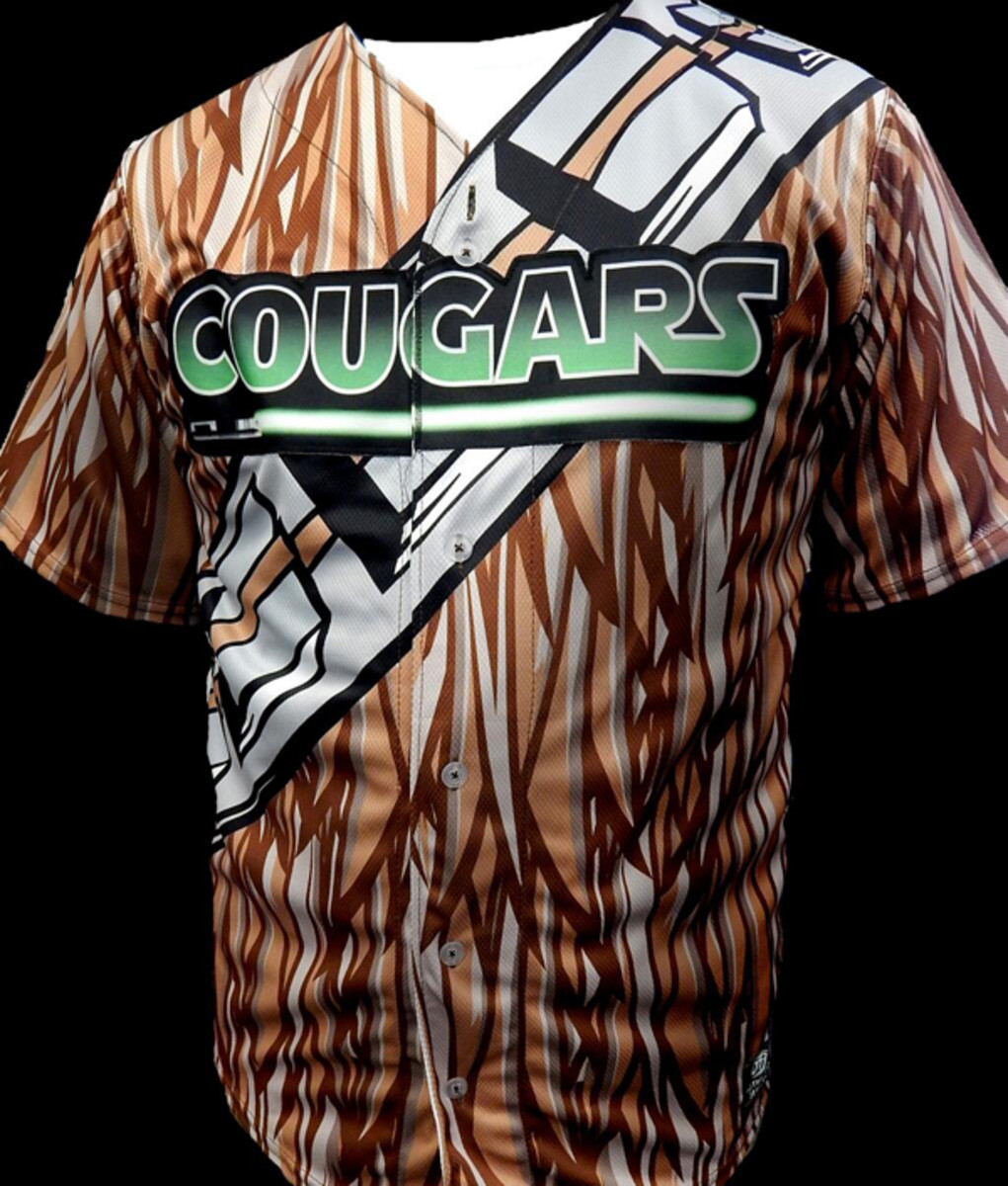 kane county cougars star wars chewbacca jerseys