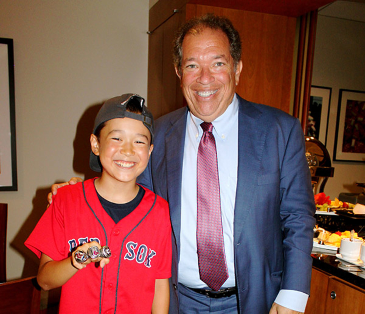 kid reporter first pitch fenway park boston red sox