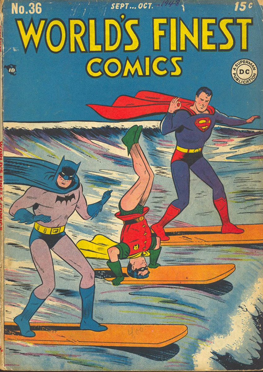 batman sports world's finest surfing