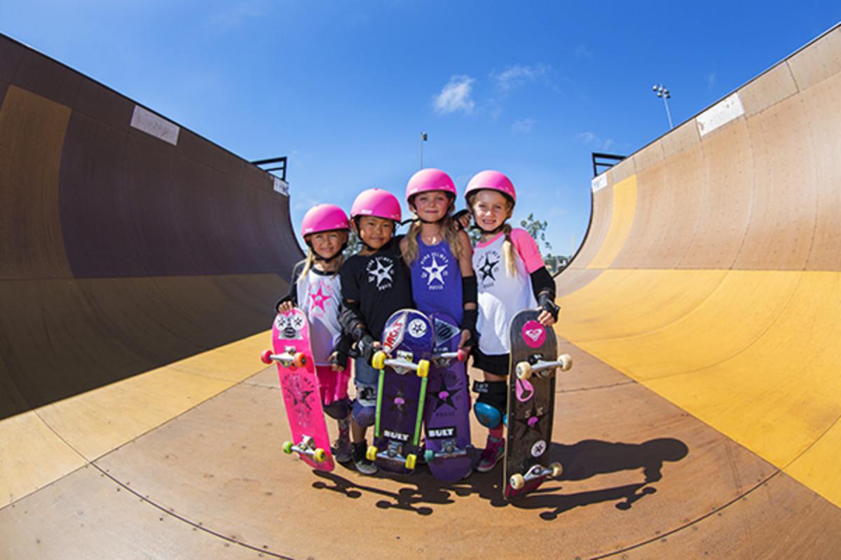 pink posse skateboarding