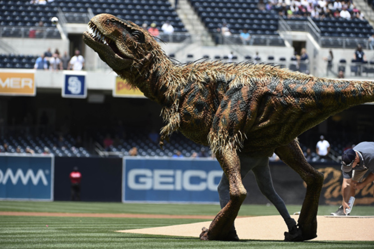 dinosaur first pitch padres