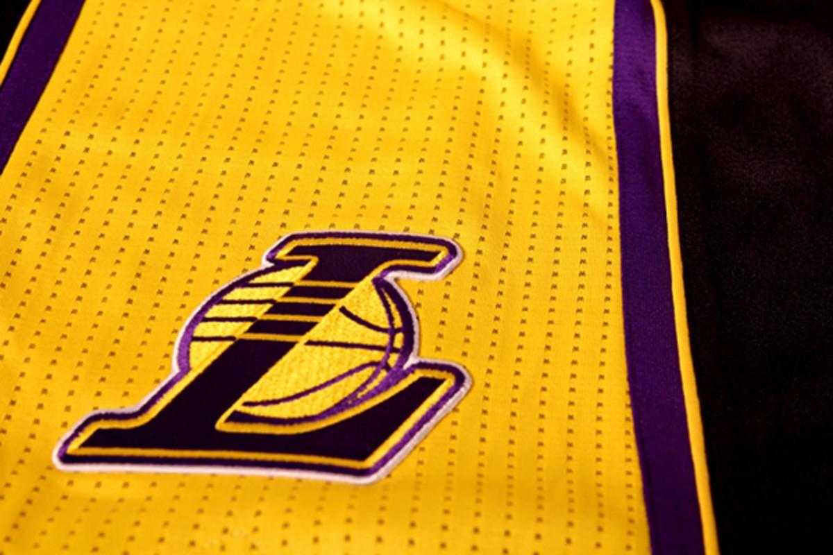 la lakers hollywood nights jersey closeup