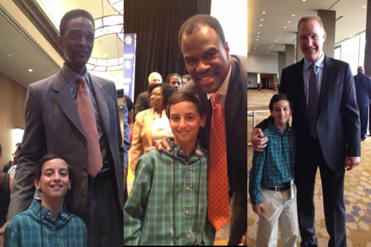 Kid Reporter Jake Aron with Ralph Sampon, David Robinson, and Chris Mullin basketball hall of fame