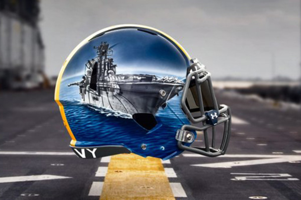 navy midshipmen fleet helmets lineman