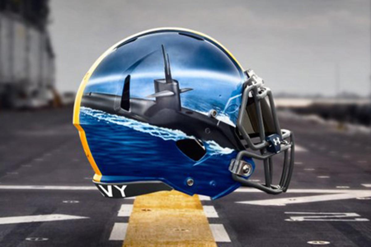 navy midshipmen fleet helmets wide receivers