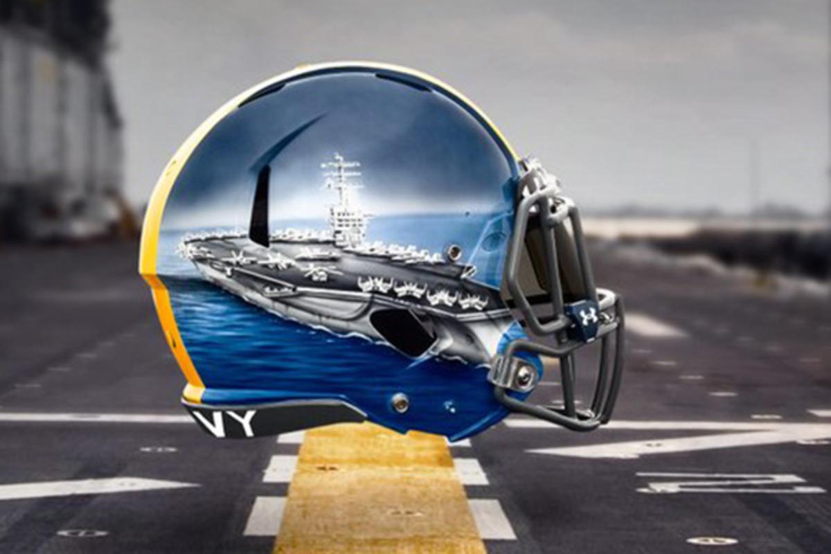 navy midshipmen fleet helmets quarterbacks